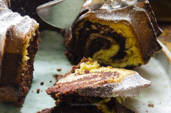 bizcocho marmolado de chocolate